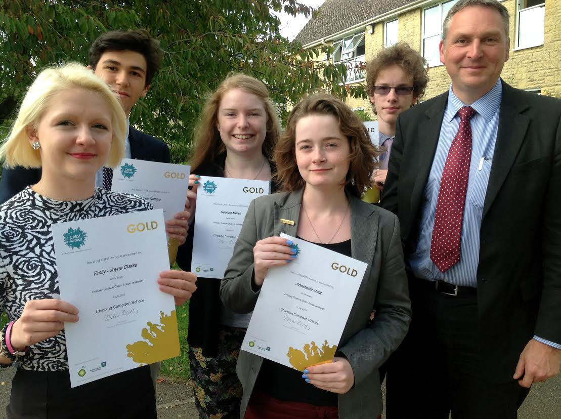 Pictured left to right: GOLD Crest award winners Emily Jayne Clarke, Arthur Griffiths, Georgia Morse, Anastasia Unitt and David Rees, along with Chipping Campden School principal John Sanderson.