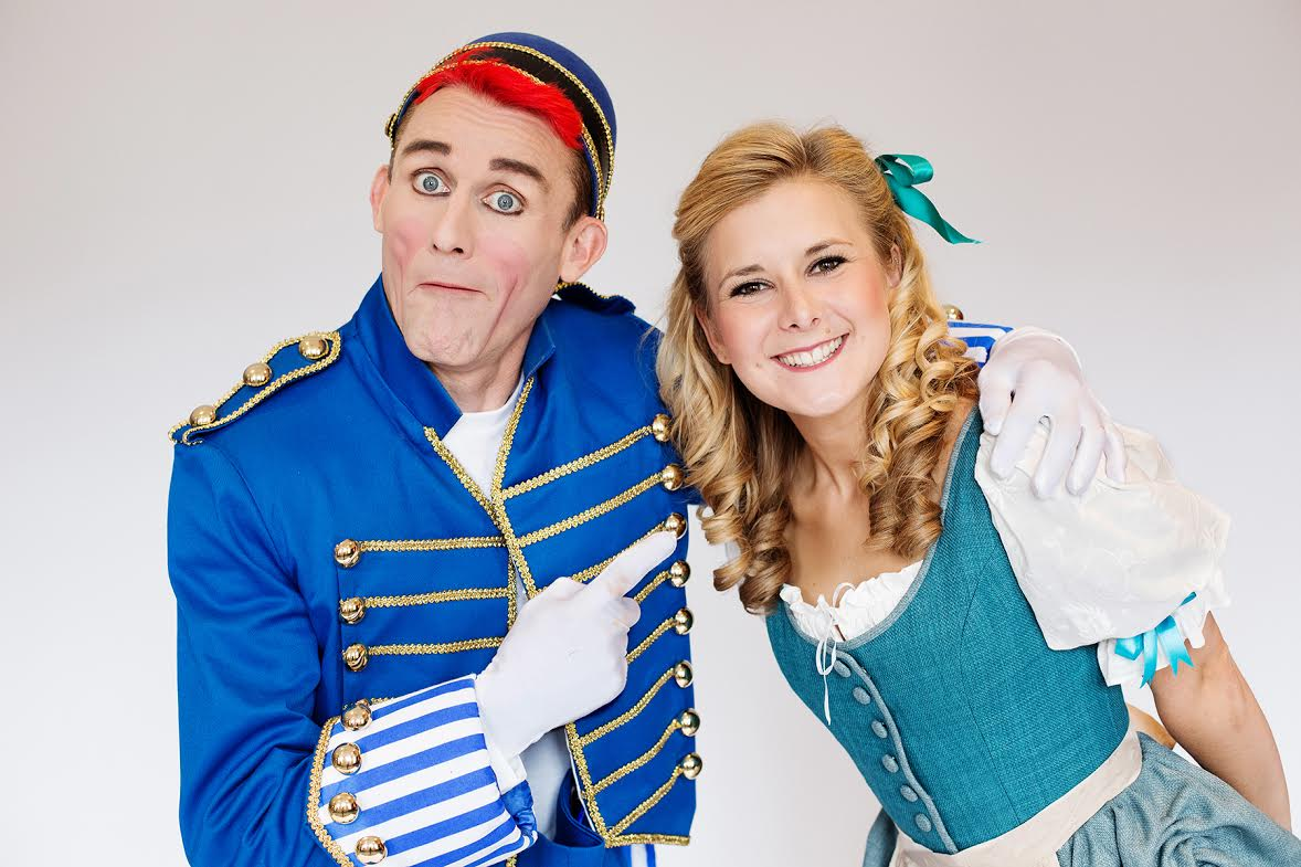 Buttons (Tweedy the Clown) and Cinderella (Ruth Betteridge) in the Everyman's panto.