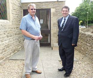 Andrew Gower, left, and Cllr James Mills at the entrance to the community rooms at Long Hanborough Methodist Church.