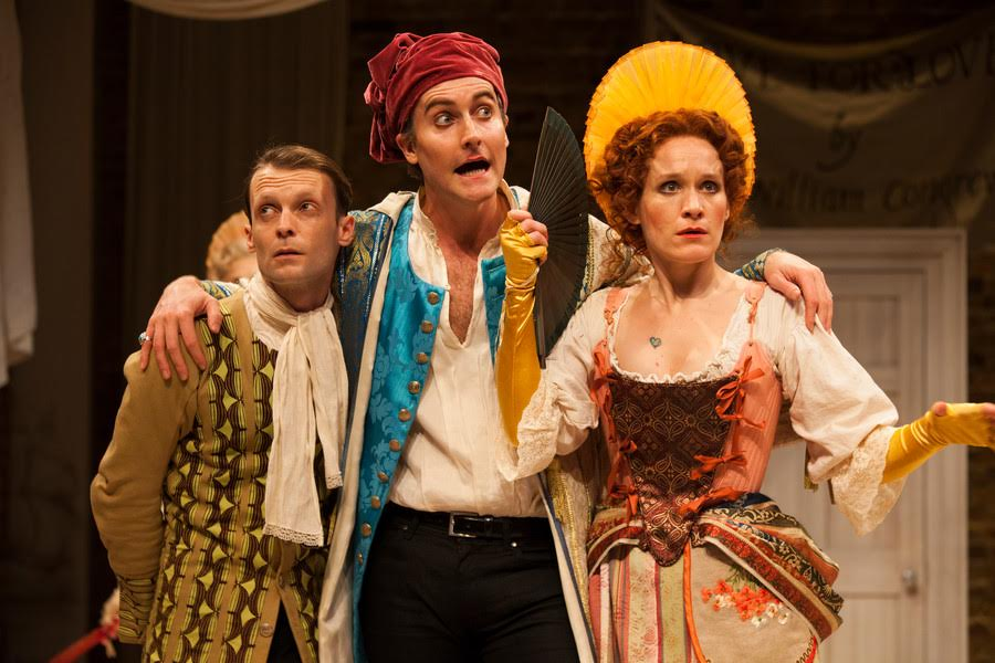 Carl Prekopp as servant Jeremy, Tom Turner and Valentine and Zoe Waites as Mrs Frail in Love for Love. Photo by Ellie Kurttz.