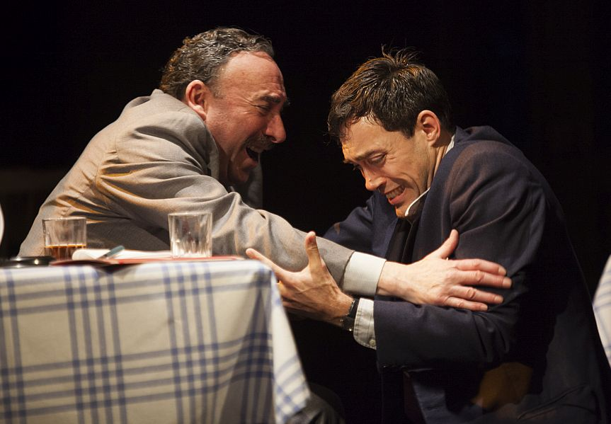 Antony Sher (Willy) and Alex Hassell (Biff) in Greg Doran's production of Death of a Salesman. Picture: Ellie Kurttz