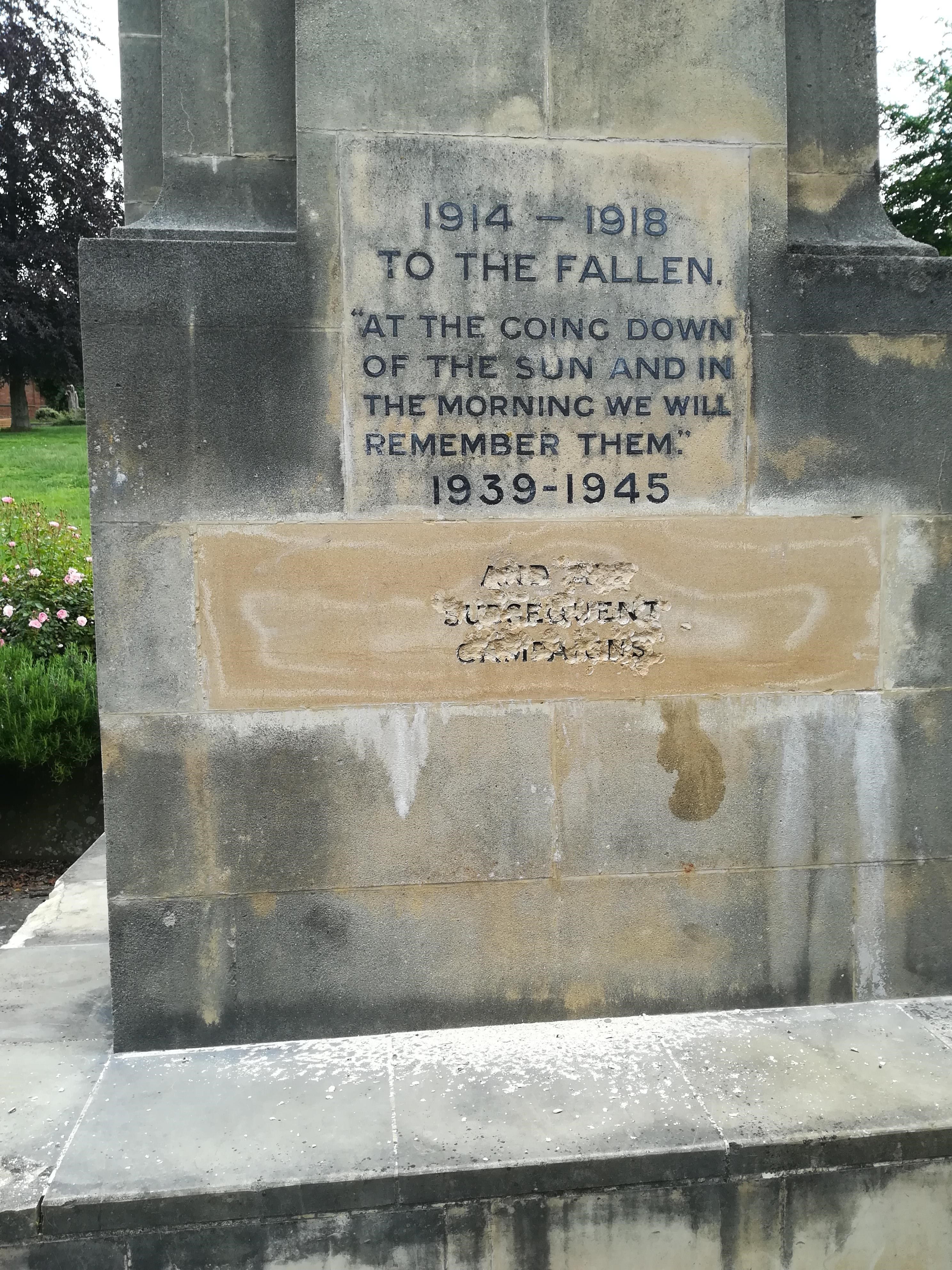 The damaged memorial in Slad Road, Stroud.