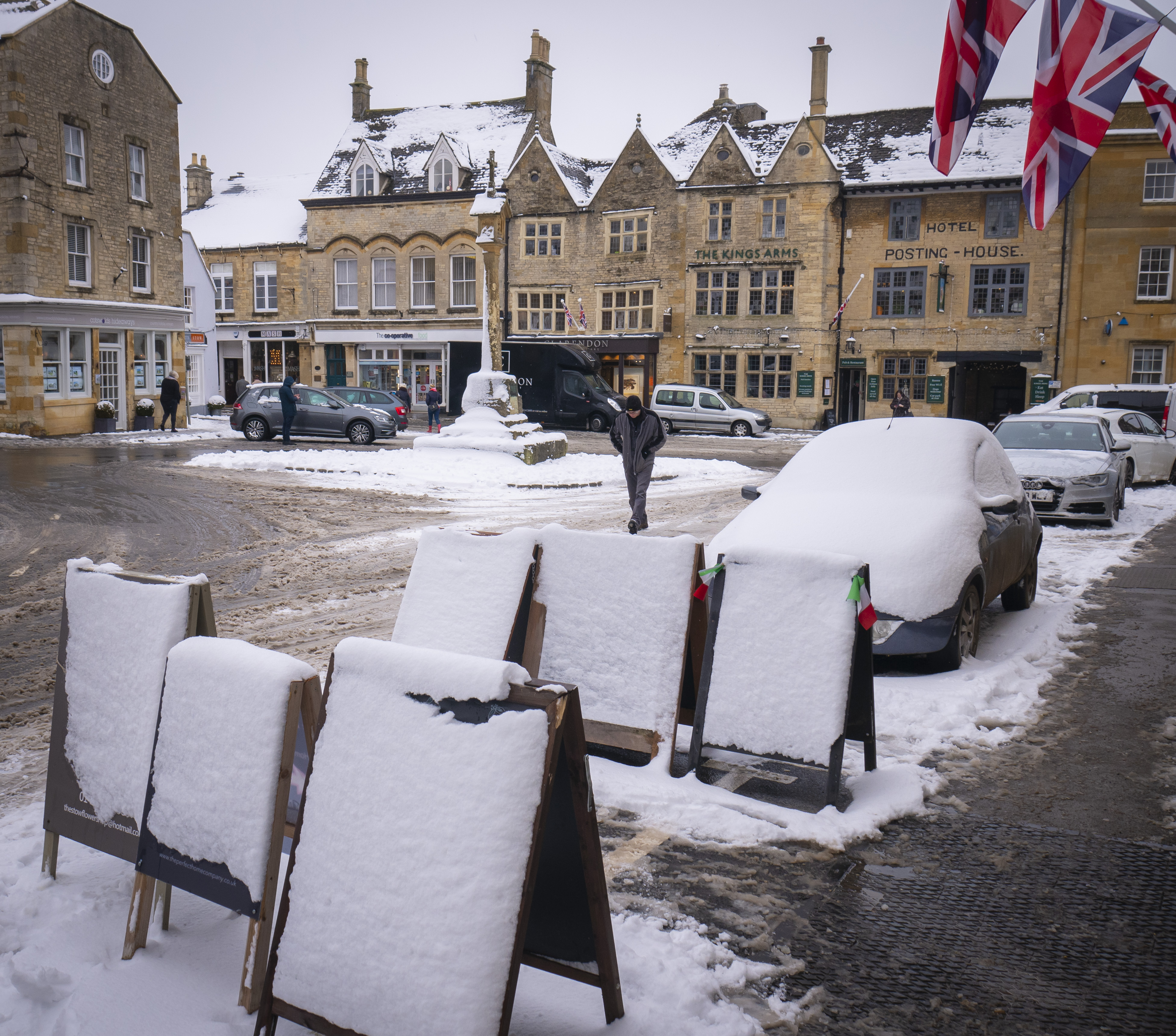 Stow-on-the-Wold during the January 2019 snowfall.