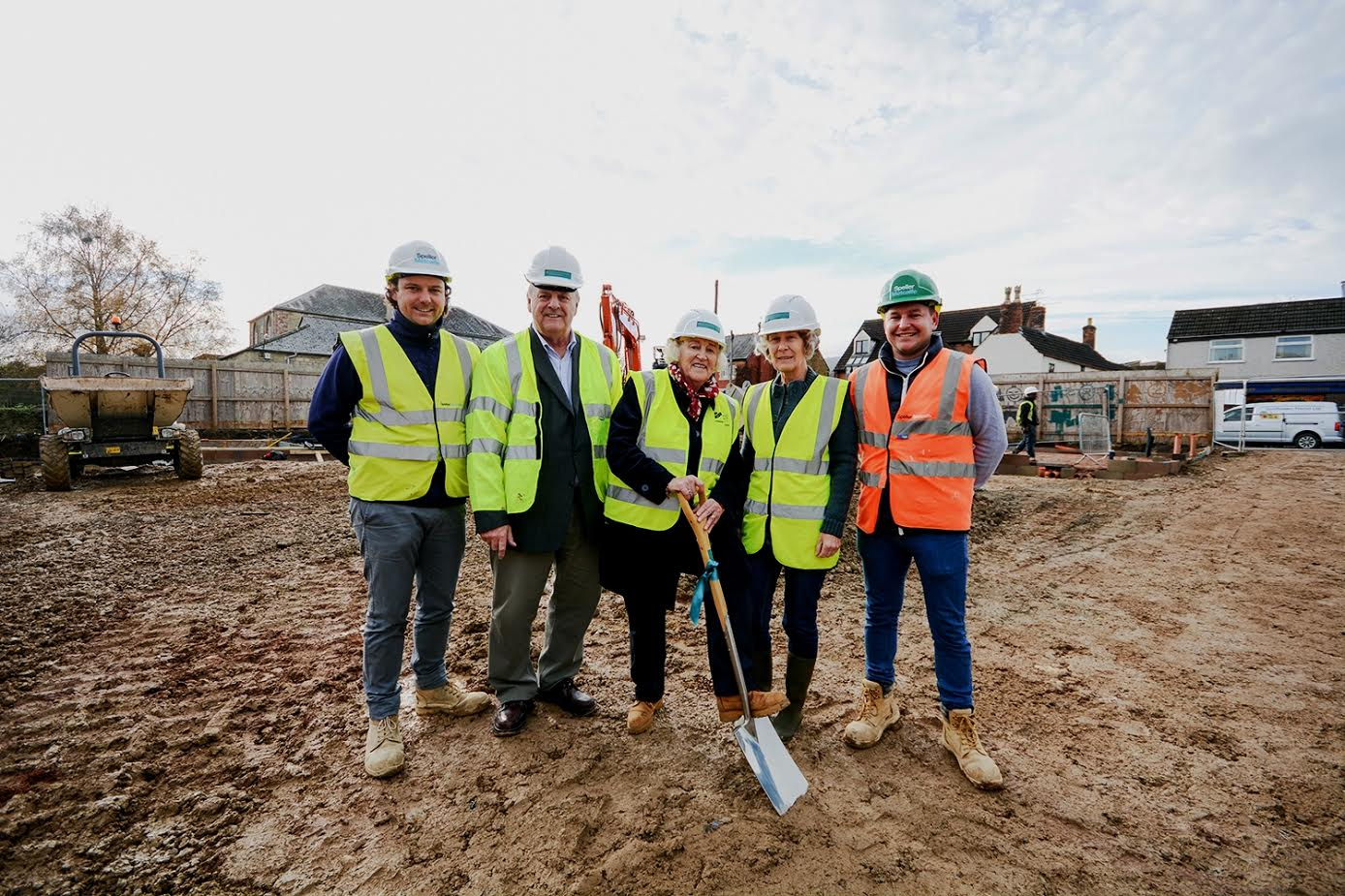 Left to right Scott Perrins (contract manager), Cllr Brian Tipper, Cllr Mattie Ross, Cllr Miranda Clifton, and Ashley Dutfield (site manager)