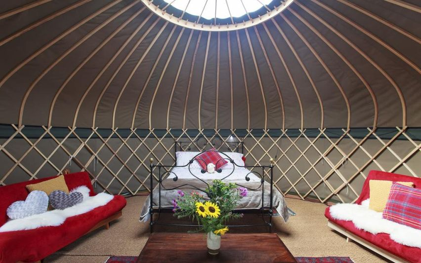 Inside one of the Campden Yurts.