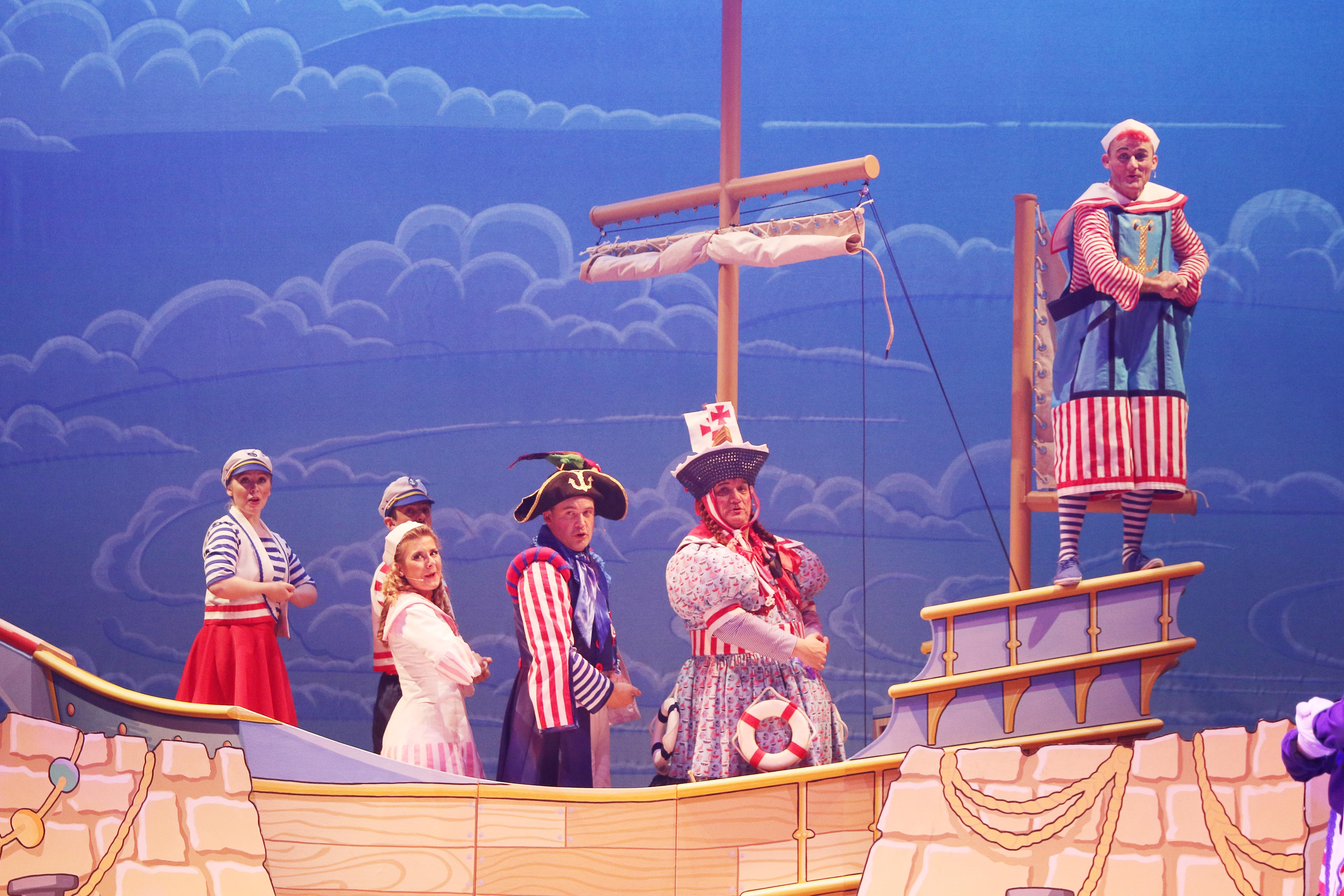 All at sea: Some of the cast in nautical mode.