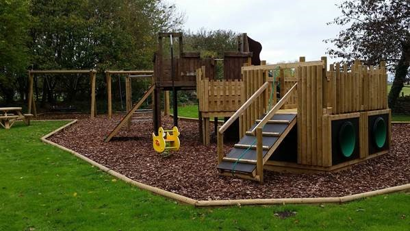 The newly-refurbished play area in Eastleach.