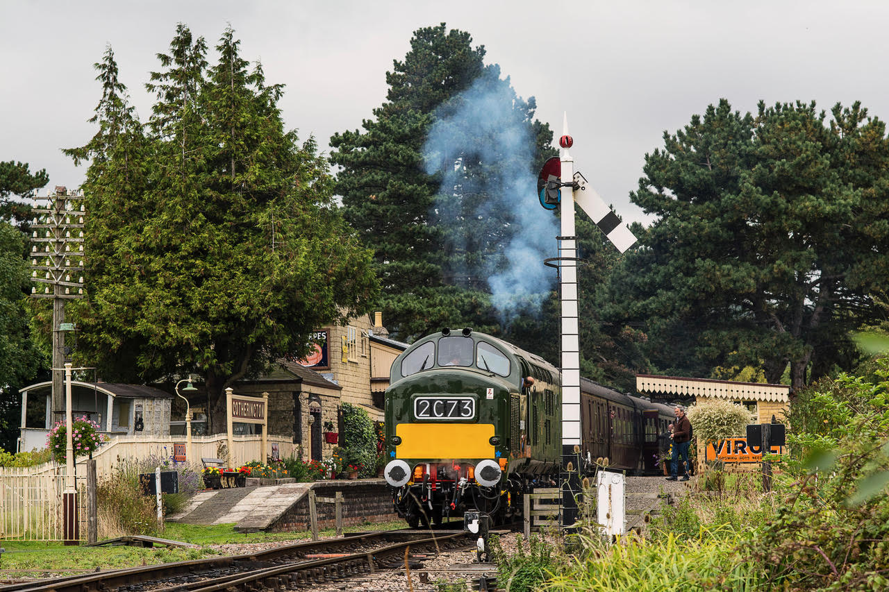 The Class 37s - or 'growlers' - were widely distributed throughout the UK and there are two examples on the Gloucestershire Warwickshire Railway including no. D6948 which has been restored to its British Railways green livery of the 1960s. It's seen here departing from Gotherington station. Picture by Malcolm Ranieri.