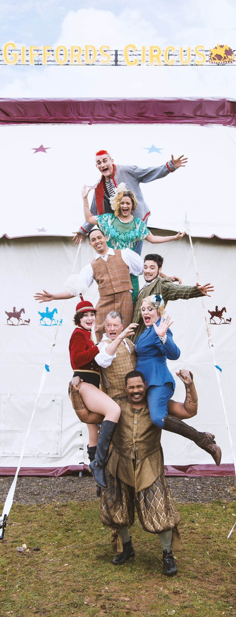 It all stacks up: Some of the Giffords Circus troupe. Picture by Gem Hall.
