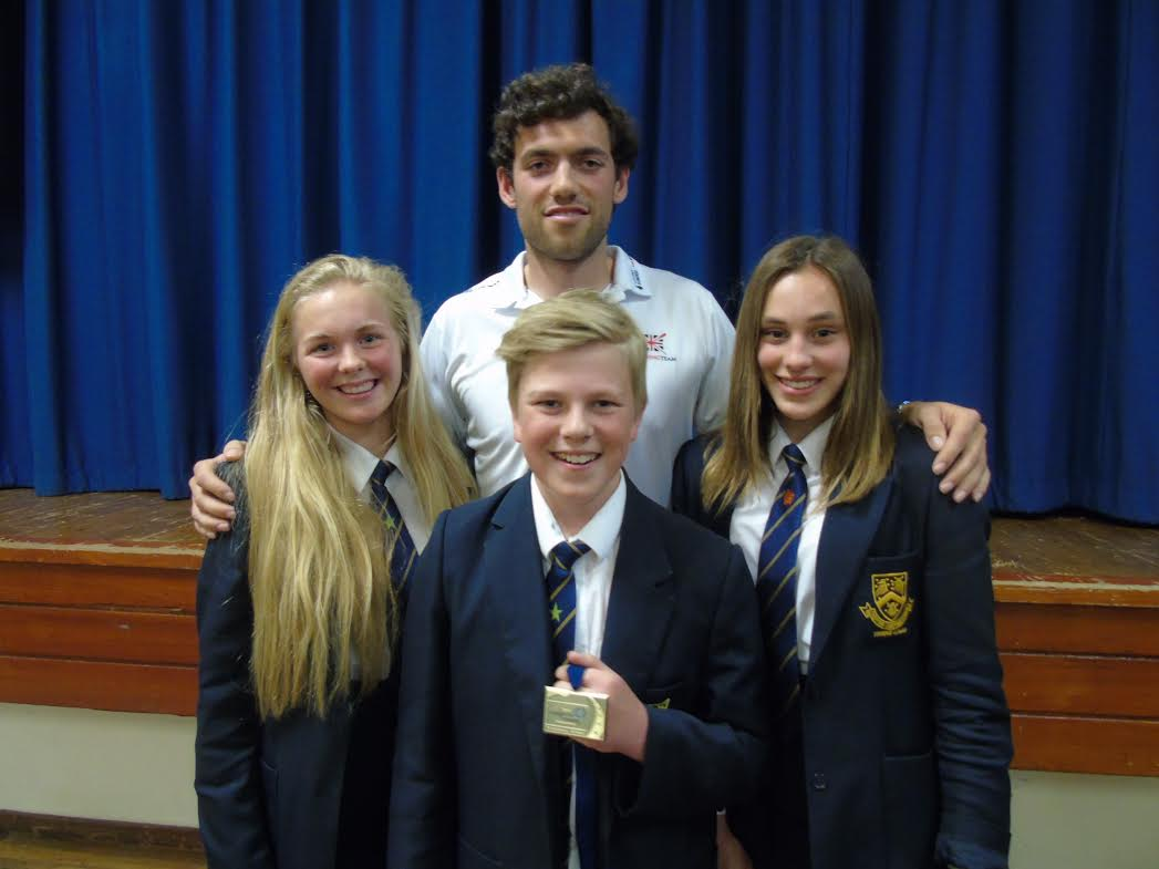World champion rower Matt Gotrel with, left to right, Isabella Clarke, Toby Ellis and Imogen Ledbetter. Picture by Lise Evans.
