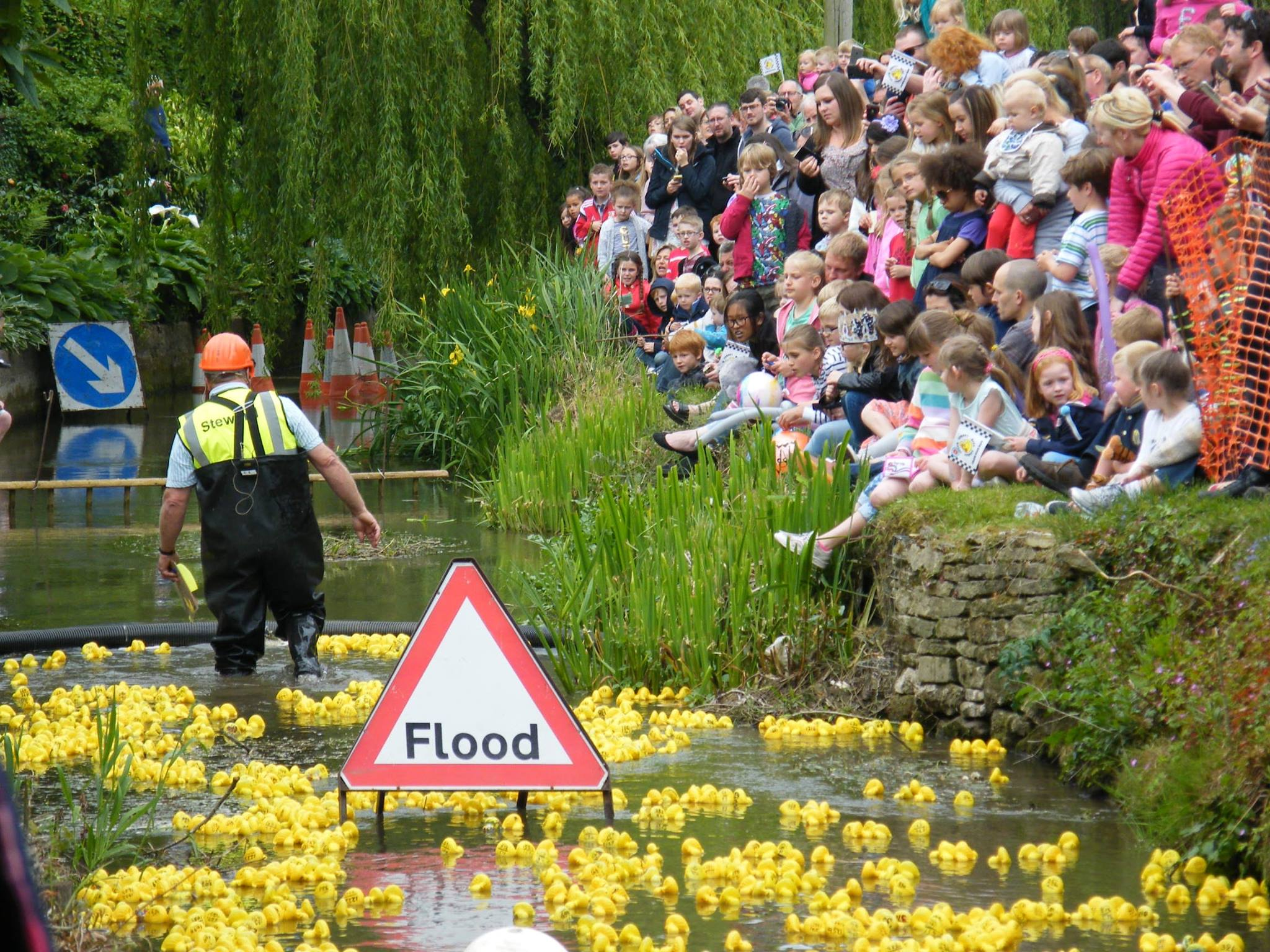 Flashback to a previous duck race in South Cerney.