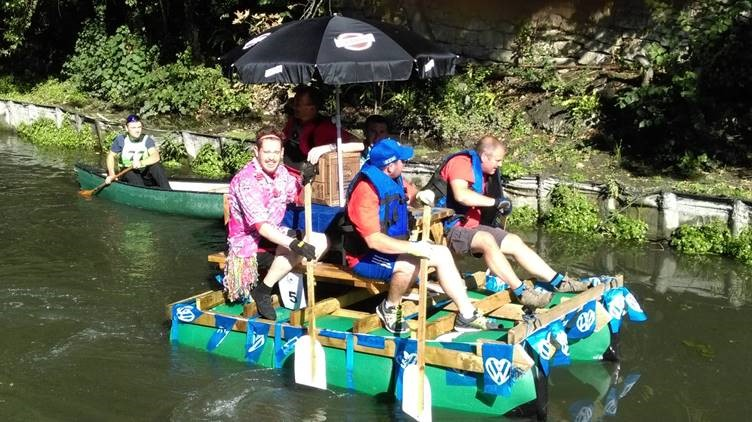 Action from last year's Stroud Raft Race.