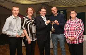 Team of the Year 2016 Tower Hill FC. Left to right: Andrew Hunt, Cathryn Taylor, Paul Riley and Tracy Mathias with WODC leader Cllr James Mills (centre).