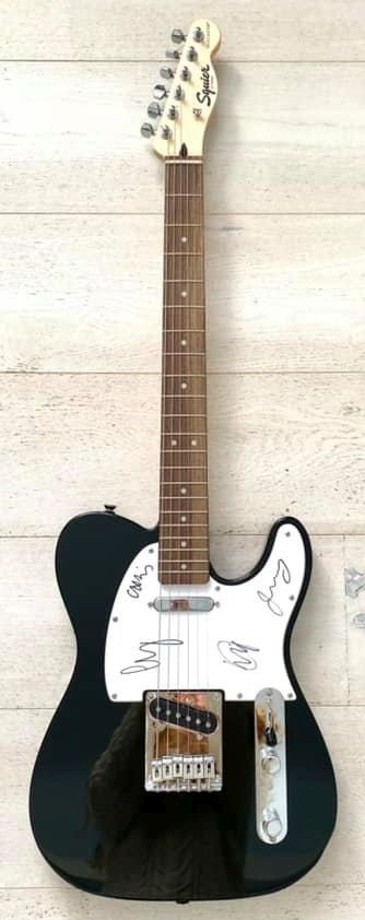 The signed Coldplay guitar.